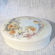 Hand Painted Porcelain Austrian Oval Trinket Box