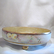 Hand Painted Footed Bowl with Yellow Roses