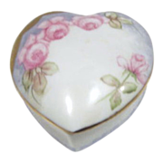 Hand Painted Signed Heart-Shaped Porcelain Box with Roses