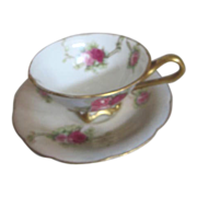 T&V Limoges France Cup and Saucer with Scattered Roses