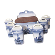 7 Piece Spice Set  Blue & White  Sailboats Made in Czechoslovakia