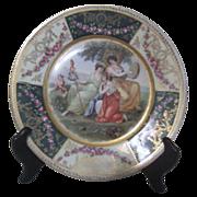 Antique Decorator Plate with 3 Women in Pastoral Scene
