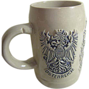 Austrian Beer Stein with Bas-Relief Ornamentation