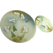 Two Cabinet Plates with Calla Lilies from RS Germany