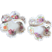 Pair of Miniature Porcelain Baskets Victoria Pattern Czechoslovakia
