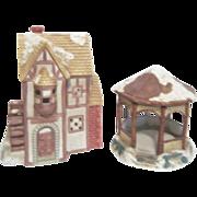 2 Buildings Mervyn's Christmas Village 1991 Park Gazabo & Flour Mill