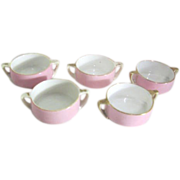 Set of 5 Double Handled Handpainted Pink Porcelain Individual Salt Cellars