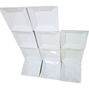 "Set of Eleven Cordon Bleu 5 1/4"" Square White Dishes"