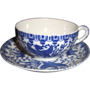 Blue & White Small Cup and Saucer with Flying Phoenix Made in Occupied Japan