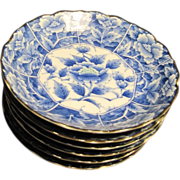 Set of 6 Small Dessert Plates Blue & White with Chrysanthemums