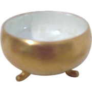 Gold Exterior Footed Salt Cellar with White Luster Interior