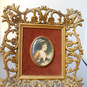 Miniature of Lady Hamilton, famed in velvet and syrocco wood, c. 50's