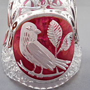 Lovely Lead Crystal Bell with Flashed Red Bird