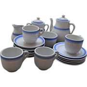 Sweet Antique Child's Blue Banded American Coffee Service, c. 1891