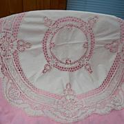 Beautiful White Round Bobbin Lace Cloth, c. early 1900's