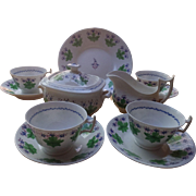 Unusual 7 piece antique porcelain New Hall tea set, c. 1800