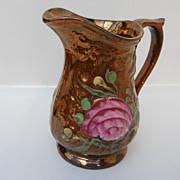 English Copper Lustre Jug (pitcher) with Rose enamel design, c. 1860