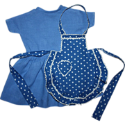 SOLD Blue Dress and Pinafore Large Composition 1940s