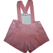 SOLD Pink Cotton Sunsuit for Small Playpals 1940