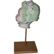 SOLD Mint Green Ruched Doll Baby Bonnet