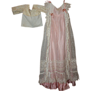 SOLD Extravagant Antique Embroidered Lace over Silk Two-Piece Baby Gown 1800s