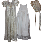 SOLD Satin and Lace Christening Gown for Bisque Dolls 1920