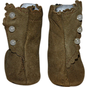 SOLD Brown Suede Side-Button Boots for Bisque Dolls