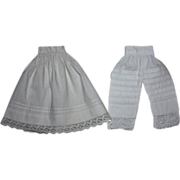 SOLD Antique Two Piece Antique Slip and Bloomers for China Heads or French Fashion Doll 1800s