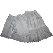 SOLD Antique Slip and Bloomers for Large German or French Bisque Dolls 1800s