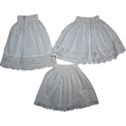 SOLD Three Antique Half Slips for German or French Bisque Dolls 1800s