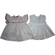 SOLD Red and White Dimity Dress for Composition Dolls 1930s