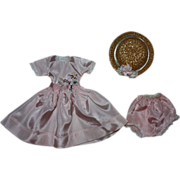 SOLD Pink Taffeta Dress and Hat for Hard Plastic Dolls