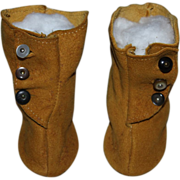 Suede Side-Button Boots for German or French Bisque Doll
