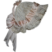 SOLD Fancy Antique Pink Silk Bonnet for Bisque Baby Dolls Early 1900s