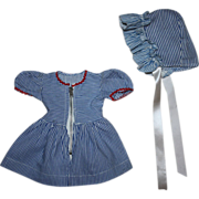 SOLD Blue and White Striped Dress and Bonnet for Hard Plastic Dolls 1950s
