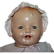 "SOLD Huge 26"" Composition / Cloth ""Happy Baby"" Doll Near Mint 1930s"
