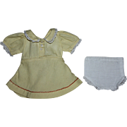SOLD Yellow Ribbed Cotton Dress and Underwear for Composition Dolls 1930s
