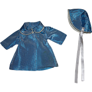 SOLD Blue Taffeta Coat and Hat for Hard Plastic Dolls 1950s