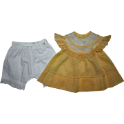 SOLD Beautiful Smocked Yellow Dress and Underwear for Composition Dolls 1930s