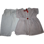 SOLD Red and White Polka Dot Doll Dress for Large Composition Dolls Unused 1930s