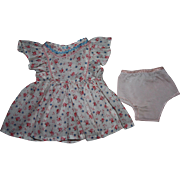 SOLD Lovely Floral Doll Dress and Underwear for Hard Plastic and Composition Dolls 1950s