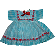 SOLD Turquoise Blue Gingham Doll Dress with Pinafore Overlay for Hard Plastic Dolls Unused 195