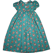 SOLD Teal Folk Print Doll Dress for Tall Composition Dolls 1930s