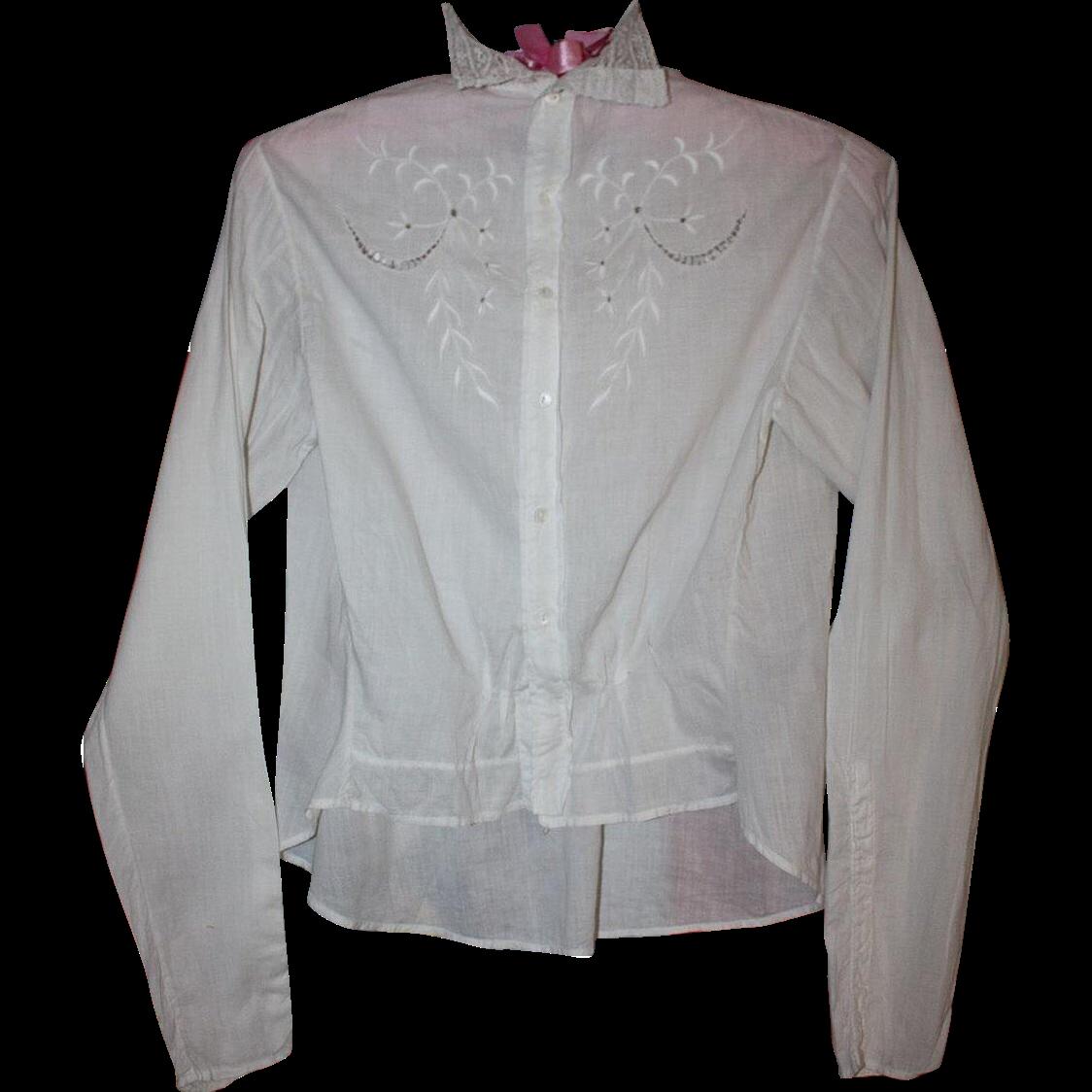 Antique Edwardian White Crochet Lace Blouse Shirtwaist 36