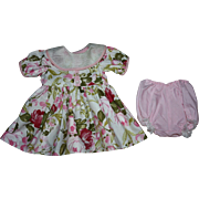 SOLD Cotton Floral and Organdy Dress for Hard Plastic Doll 1950s