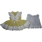 SOLD Yellow Dotted Organdy Doll Dress and Slip 1950s