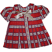 SOLD Red Print Dress for Composition Doll such as Shirley Temple 1930's