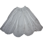 SOLD Antique Half Slip with Eyelet for German or French Bisque Dolls Early 1900's