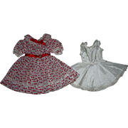 SOLD Red and White Nylon Doll Dress for Hard Plastic Dolls 1950s