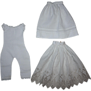SOLD Antique Doll Underwear and Slip Set for French or German Bisque Early 1900's